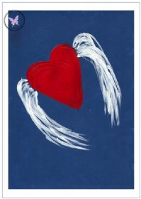 Art Greeting Card - Winged Heart